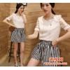 韩版夏装新款大码女装休闲套装条纹短裤