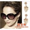 A0309欧美复古时尚饰品 个性潮流 镶钻珍珠 树叶 女款耳