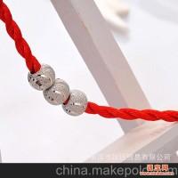 990纯银 8mm钉砂转运珠 手链项链吊坠 DIY串珠 足银镀白 本命年