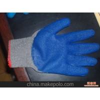 厂家直销灰纱兰皱纹胶棉纱手套,侵胶耐磨手套,劳保防护用品