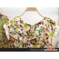 批发供应 2013年韩版女装 小清新花色连衣裙 超质感绸缎手感 TF52
