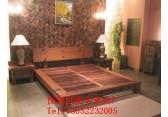 全实木床中式明清仿古双人床婚床雕花大床老船木古典家具