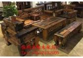老船木客厅沙发茶几组合中式实木禅意仿古家具整装明清古典